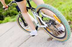 Mountain bike woman Royalty Free Stock Image