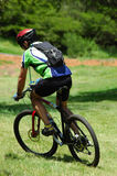 Mountain biker. An active male mountain biker riding his bicycle in nature Stock Images