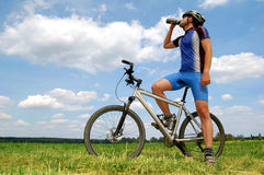 Mountain biker. Portrait of a cyclist on mountain bike Stock Photo
