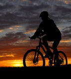 Mountain biker. Silhouette in sunrise Royalty Free Stock Photography