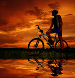 Mountain biker. Silhouette in sunrise Royalty Free Stock Photos