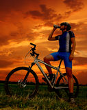 Mountain biker. Silhouette in sunrise Royalty Free Stock Image