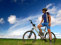 Mountain biker. Portrait of a cyclist on mountain bike Royalty Free Stock Images
