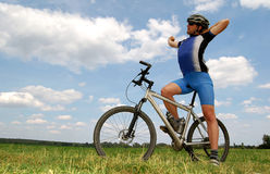 Mountain biker. Portrait of a cyclist on mountain bike Royalty Free Stock Photography