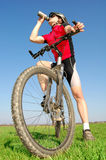 Mountain biker. Portrait of a cyclist on mountain bike Royalty Free Stock Image