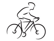 Mountain biker. Line art of mountain biker Stock Photo