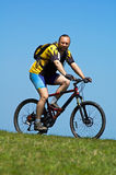 Mountain biker. And grass and sky Stock Image