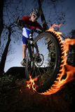 Mountain biker. Photo of a mtb racer Stock Photos