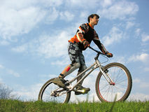 Mountain Biker. Stand Stock Image