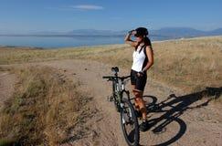 Mountain biker. Scouting the trail Stock Photo