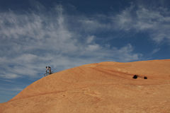 Mountain biker in action Stock Images