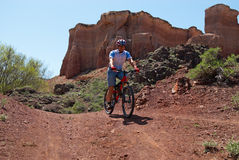 Mountain biker in Canyon Royalty Free Stock Photography