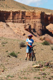 Mountain biker in Canyon Stock Photo
