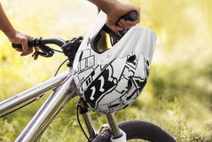 Mountain biker. Close up of mountain biker in the forest Royalty Free Stock Photo