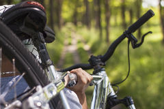 Mountain biker. Close up of mountain biker in the forest Stock Photography