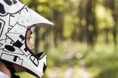Mountain biker. Close up of mountain biker with helmet Stock Image