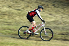 Mountain biker at a competition Stock Image