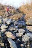 Mountain biker crossing a stream royalty free stock photo