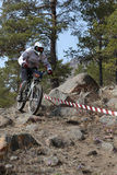 Mountain biker - Downhill Stock Image