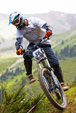 Mountain biker on downhill rce Stock Image