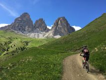 Mountain biker in the Dolomites Sellaronda