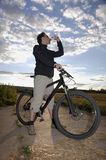 Mountain Biker Drinking Water Stock Photos