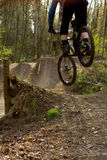 Mountain Biker Drops In To Jumps Stock Images