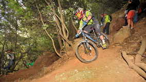 Mountain biker  - Enduro race in Finale Ligure Stock Photography