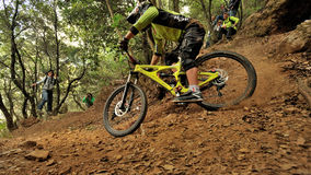 Mountain biker  - Enduro race in Finale Ligure Royalty Free Stock Photos