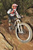 Mountain biker  - Enduro race in Finale Ligure Royalty Free Stock Image