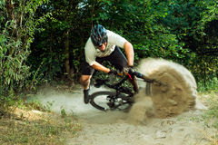 Mountain Biker Falling Royalty Free Stock Photo