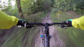 Mountain biker forest trail riding POV stock footage