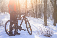 Mountain Biker with his Bike on the Snowy Trail in the Beautiful Winter Forest Lit by Sun Royalty Free Stock Images