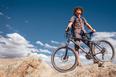 Mountain biker. In the indian Hymalayas Royalty Free Stock Photo