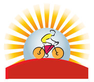 Mountain biker Logo. Mountain biker with sunset/sunrise and sun rays Stock Photos