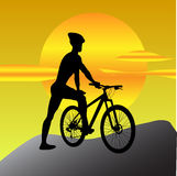 Mountain Biker Looking at Sun Royalty Free Stock Photos
