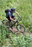 Mountain biker motion. A cross country mountain biker on a trail photograhed using motion panning Stock Photo