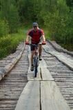 Mountain biker on old wooden bridge stock images