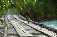 Mountain biker on old wooden bridge Royalty Free Stock Photography
