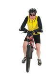 Mountain biker resting  in studio Stock Images