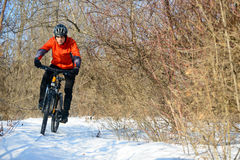 Mountain Biker Riding Bike on the Snowy Trail in Beautiful Winter Forest Stock Photo
