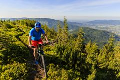 Mountain biker riding on bike in summer mountains forest landsca Royalty Free Stock Photos