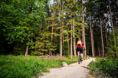 Mountain biker riding cycling in green inspiring forest Stock Photo