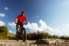 Mountain biker riding MTB Stock Photo