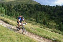 Mountain biker riding though Swiss mountain area Royalty Free Stock Photos