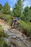 Mountain biker riding though Swiss mountain area Royalty Free Stock Images
