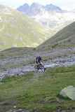 Mountain biker riding though Swiss mountain area Royalty Free Stock Photo
