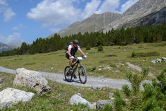 Mountain biker riding though Swiss mountain area Royalty Free Stock Photos