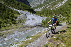 Mountain biker riding though Swiss mountain area Stock Images