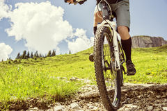 Mountain biker riding trail Royalty Free Stock Photo